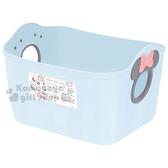 〔小禮堂〕迪士尼 米妮 日製置物籃《2.5L.藍.造型提把.方形》輕鬆美化空間 4904121-34233