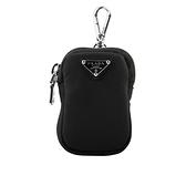 【PRADA】三角牌Logo迷你萬用袋/鑰匙包(黑色) 1TT119 2CKI F0002