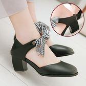 【35-43全尺碼】跟鞋.甜美格紋蝴蝶結兩穿粗跟包鞋.白鳥麗子