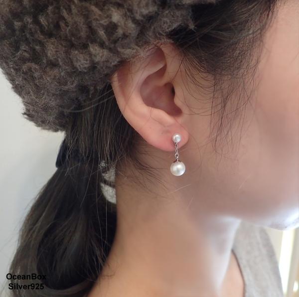 §海洋盒子§精緻迷人垂墜天然淡水雙珍珠925純銀耳環 (925純銀外鍍專櫃級正白K)