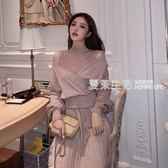 女毛衣 潮流時尚V領蝙蝠袖短款毛衣 百褶背心連衣裙網紅兩件套裝學生·夏茉生活