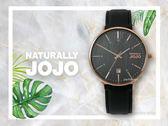 【時間道】NATURALLY JOJO  時尚木紋面皮帶腕錶 / 黑面玫瑰金殼黑皮-大(JO96898-88RM)免運費