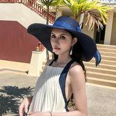 沙灘帽子女夏天海邊出游可折疊大沿草帽防曬正韓百搭大帽檐遮陽夏