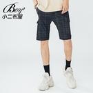 格子褲 質感黑格大尺碼紳士格文短褲【NW611006】