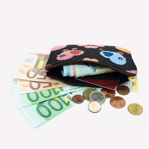 零錢包-小心雞織畫緹花卡片零錢包 黑色-REORE