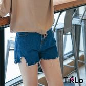 短褲-Tirlo-原色顯瘦抽鬚牛仔短褲