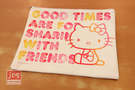 Hello Kitty 凱蒂貓 皮質資料袋 網袋 眨眼 白 211596