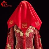 新娘頭飾逸芬夢紡 新娘結婚紅蓋頭紅色喜帕蓋頭紗 婚慶中式喜字流蘇蒙頭巾 交換禮物