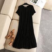 洋裝【G222】FEELNET中大尺碼女裝夏裝蕾絲裙擺拼接莫代爾棉短袖洋裝XL~3XL