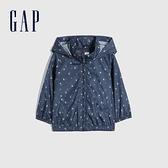 Gap女幼童 小碎花可收納式連帽外套 681319-海軍藍