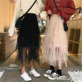 新款仙女港味網紗半身裙氣質蛋糕裙女裝ins超火裙子A字裙 范思蓮恩