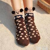 地板襪 加厚地板襪成人防滑月子襪睡覺珊瑚絨襪子女毛加絨睡眠襪冬季保暖 童趣屋