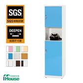 IHouse-零甲醛 環保塑鋼緩衝雙門置物鞋櫃(寬43深37高180)藍白