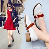 樂福鞋女春 新款真皮英倫淺口單鞋粗跟圓頭時尚休閒女鞋  蜜拉貝爾