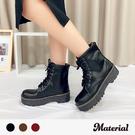 中筒靴 個性綁帶厚底中筒靴 MA女鞋 T...