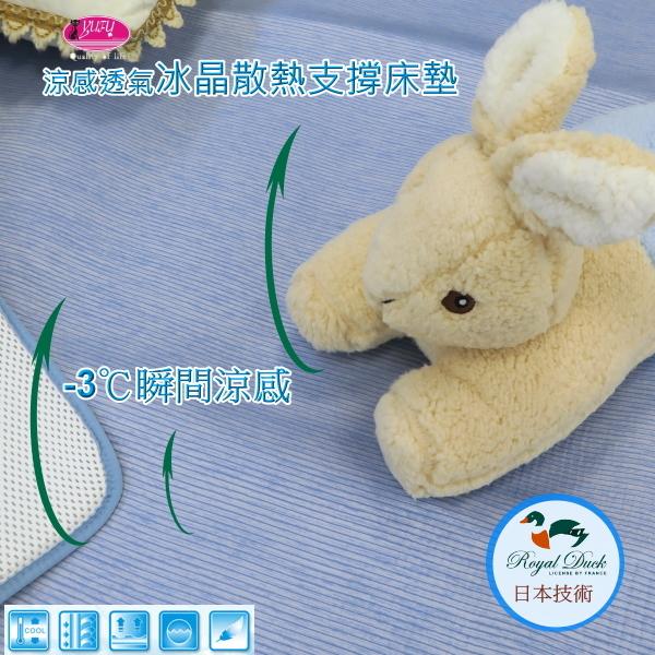 Royal Duck ▎-3℃涼感冰晶墊/3D透氣床墊 ▎日本技術∥8小時恆溫COOL冰涼感【105*190*1.2cm】單人