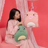 暖手抱枕插手捂手枕頭可愛毛絨玩具冬季學生卡通暖手捂女生午睡枕 美芭