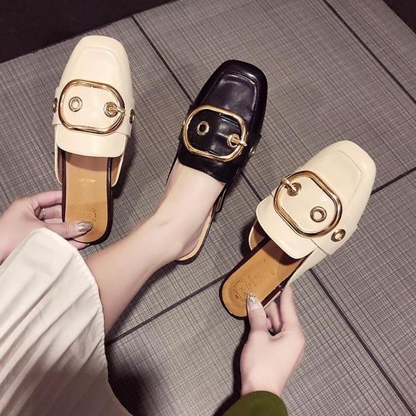 奶奶拖鞋包頭半拖鞋女2020新款外穿懶人方頭穆勒鞋粗跟復古女鞋子