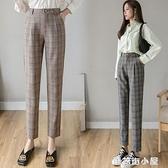 九分褲格子褲休閑褲子女寬鬆直筒2021春夏新款女褲顯瘦小腳哈倫褲 蘑菇街