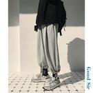 日系復古純色休閒運動褲男秋季潮流韓版闊腿束腳褲寬鬆嘻哈燈籠褲