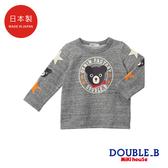 DOUBLE_B 日本製 黑熊徽章長袖上衣(灰)