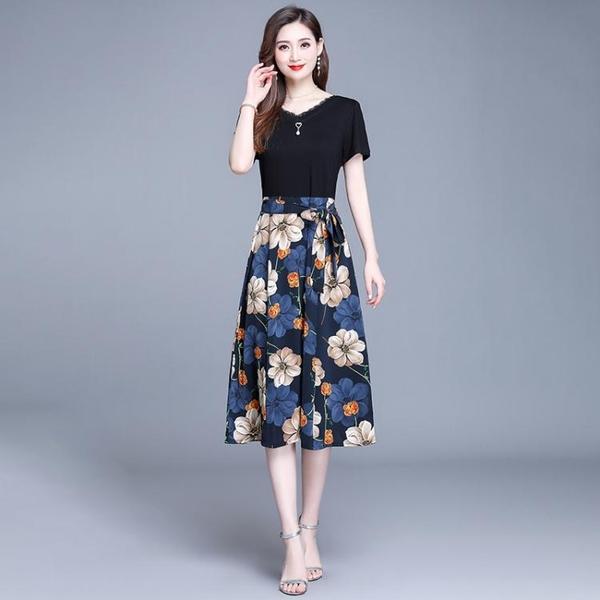 雪紡洋裝 小雛菊碎花洋裝夏裝新款35一45女裝氣質女神范假兩件套裝裙 雙十二全館免運