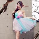 東京衣服 藍莓糖衣 花朵別飾細緻絲華網紗小禮服(背後綁帶) 藍+粉色
