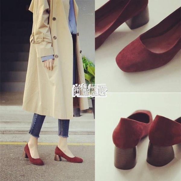 【免運】單鞋新款正韓百搭復古方頭女鞋黑色絨面瑪麗珍粗跟高跟鞋