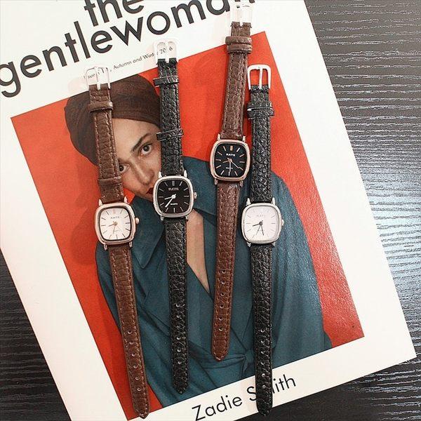 現貨-韓風簡約ins復古小錶盤方形手錶女士CHIC學生石英表W6
