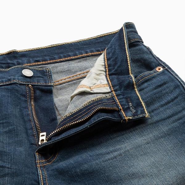 Levis 男款 上寬下窄 / 512低腰修身窄管牛仔褲 / 深藍刷白 / 重磅 / 彈性布料