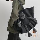 大容量包包女潮酷側背斜背百搭韓版帆布包【橘社小鎮】