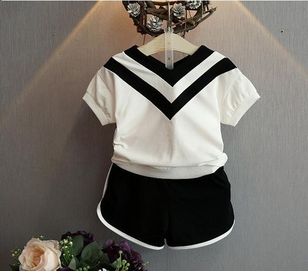 女童短袖套裝 日本水手服上衣 + 運動短褲 學生服造型 寶寶童裝 MS9087好娃娃