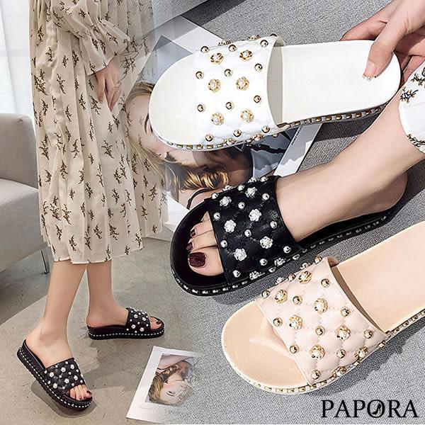 PAPORA低調奢華厚底休閒涼拖鞋KMDL-298黑/白/粉(偏小)