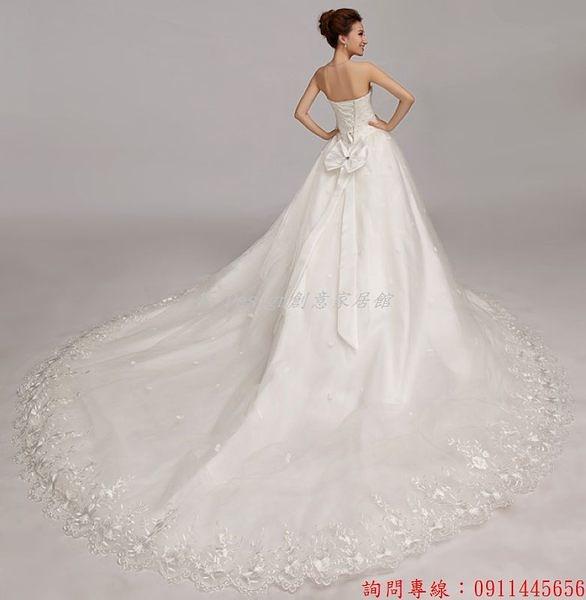 (45 Design) 客製化 預購7天到貨   新款韓版樂悠悠 綁帶抹胸蕾絲大拖尾新娘婚紗蓬蓬