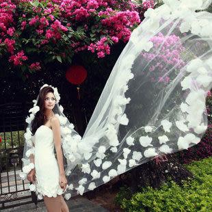 多層花朵頭紗超長拖尾蕾絲新娘頭紗