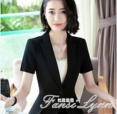 夏季薄款氣質黑色短袖小西裝外套女職業西裝時尚韓版休閒西服套裝 范思蓮思