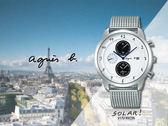 【時間道】agnes b. marcello!設計師手寫系列三眼腕錶/白面鋼帶(V172-KKC0S/BY6006P1)免運費