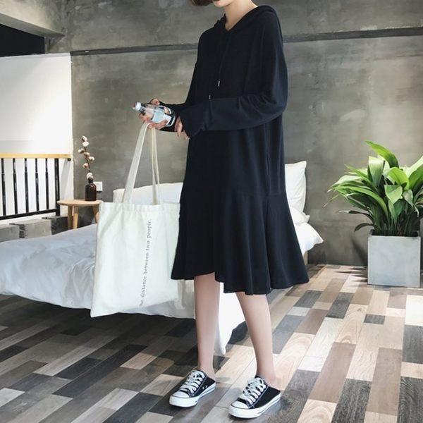 漂亮小媽咪 韓系洋裝 【D8256】 寬鬆 中大尺碼 長袖 傘狀 魚尾 連帽連衣裙 孕婦裝洋裝