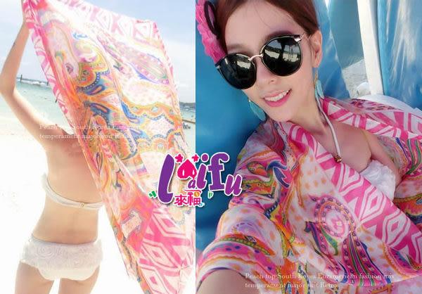 ★草魚妹★V34波西米亞泳衣沙灘巾大披紗適搭泳衣比基尼泳裝披裙,售價300元