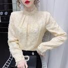 長袖襯衫~娃娃衫~# 時尚百搭上衣蕾絲珍珠洋氣打底衫N161B日韓屋