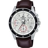 CASIO EDIFICE 大氣沉穩經典風格真皮腕錶-白(EFV-540L-7A)