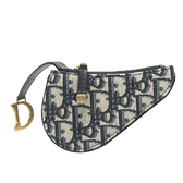 Dior 迪奧 藍色Dior Oblique緹花布小零錢包Saddle Coin Purse S5613CTZQ【BRAND OFF】