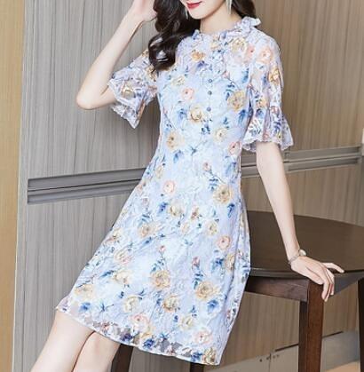 洋裝 蕾絲連身裙女夏法式複古修身顯瘦氣質裙子6205H463快時尚
