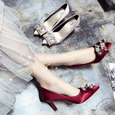 高跟鞋 婚鞋女2019春新款單鞋女細跟尖頭高跟鞋水鑽珍珠搭扣淺口鞋香槟色