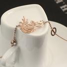 玫瑰金鑲鑽純銀手鍊-創意時尚面具流行生日禮物飾品71ah4【巴黎精品】