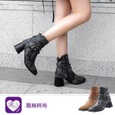 秋冬單品磨砂鉚釘環扣尖頭方跟短靴/2色/35-43碼 (RX1353-66) iRurus 路絲時尚