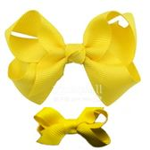 Cutie Bella 手工蝴蝶結髮夾 羅紋緞帶 全包布 中小款二入套組-Sunny