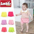 短褲 燈籠褲 褲子 Amber 純棉 女童 蝴蝶結 桃紅 綠色 淺紫 淺粉 黃色 西瓜紅