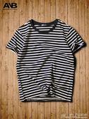 條紋T恤2018新款半袖t恤男圓領潮流夏季短袖男士黑白條紋 曼莎時尚