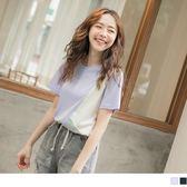 《AB10515-》潮流個性撞色拼接上衣/T恤 OB嚴選